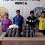 Vraem: Intervienen a cinco personas con 42 kilos de cocaína