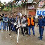 Primera piedra de proyecto de agua y saneamiento para Carhuayoc ejecutado por Antamina a cargo de la Municipalidad de San Marcos