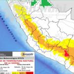 Descenso de temperatura nocturna en la sierra se registrará del 16 al 18 de mayo