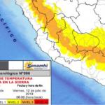 Descenso de temperatura nocturna en la sierra se presentará del 10 al 12 de julio