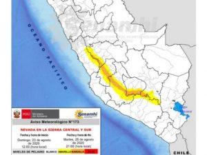 Prevén nevadas en 35 provincias de la sierra central y sur
