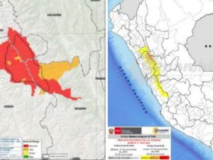 41 distritos en riesgo de lluvias en la sierra norte y centro