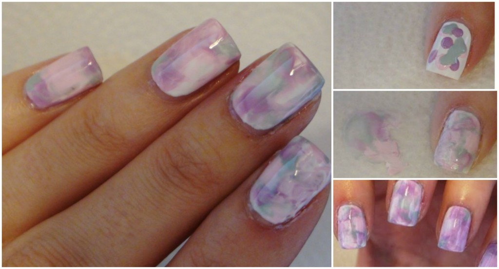 DIY Watercolor Marble Nails (Without Water)