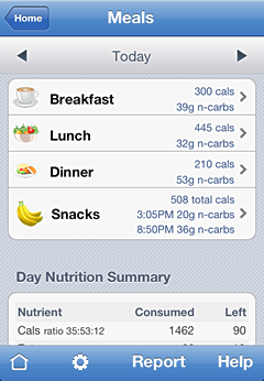 iPhone screenshot Meals, Carbs, and Times