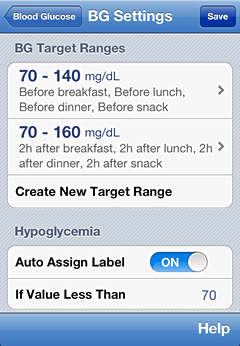 iPhone blood glucose ranges definition