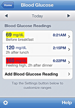 iPhone blood glucose tracking features