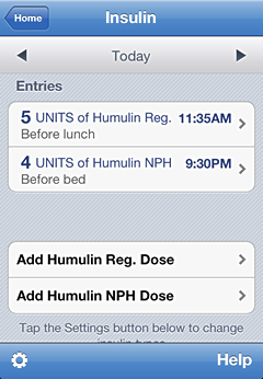 iPhone insulin tracking