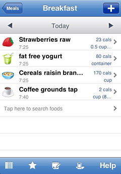 iPhone screenshot Food Tracking