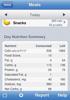 iPhone screenshot Nutrients