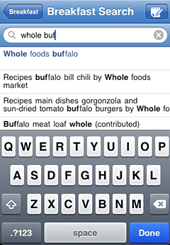 iPhone screenshot food database search