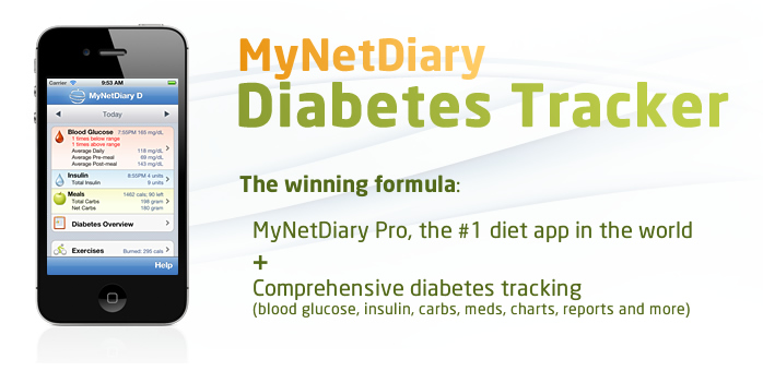 MyNetDiary Diabetes Tracker is the best iPhone diet app plus easy and comprehensive diabetes tracking.