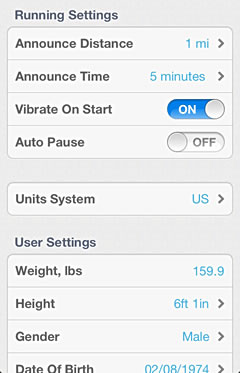 iPhone screenshot GPS settings