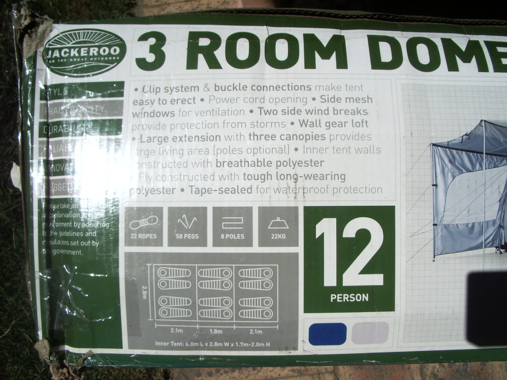 Dont have the lawn space to set up but its never been used and always stored in a dry cupboard. Comes in a sturdy bag its only the box thats ratty from ... & For Sale Never used Jackeroo 3 room dome tent (12 person)