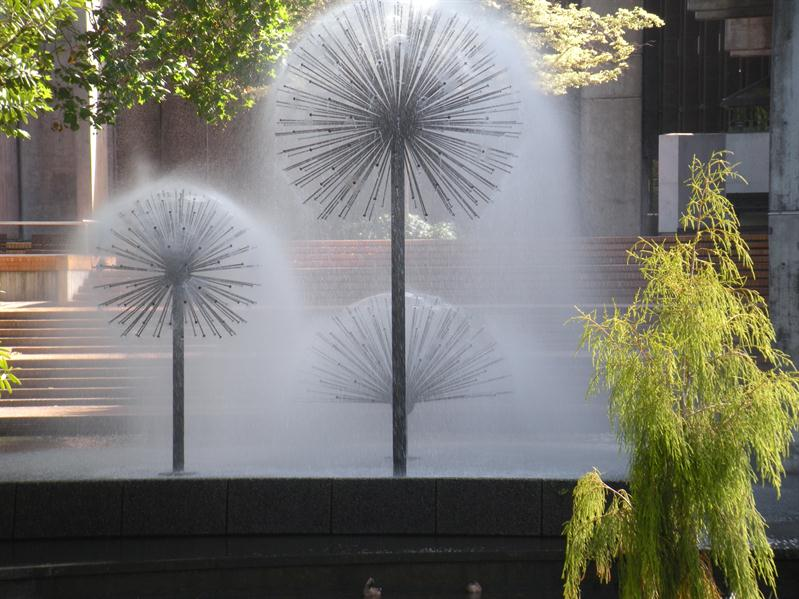 Beautiful Dandelion Fountains in the centre of Christchurch