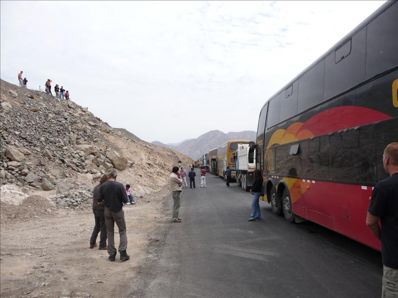 Bus to Lima took 28 hrs. 3 hrs of it stuck here in the middle of the baking mountains nr Nazca while we waited for the road to be resurfaced!