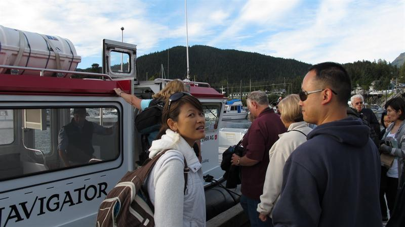 Embarking the whale-watching vessel
