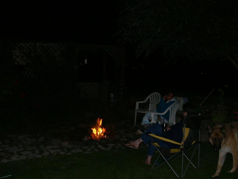 Camp fire in the back yard