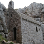 Church built into cliffs. St. Govans Head