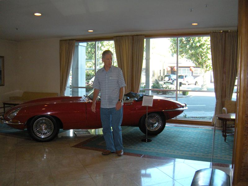 Pete and a Jag in the Nelson Hotel reception