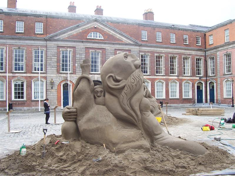 Sand sculptures at Dublin Castle.