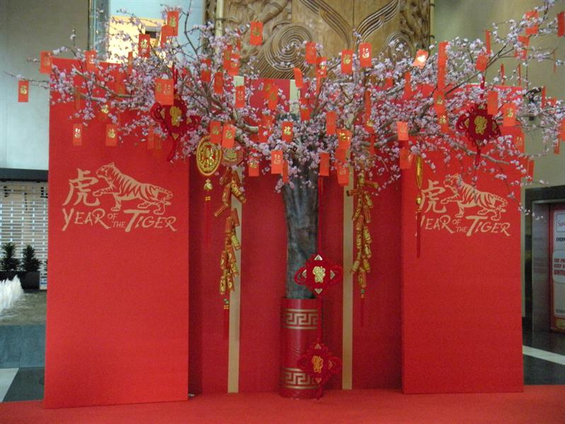 Sky City Hotel lobby decorated for Chinese New Year