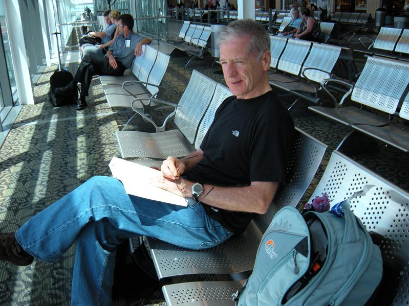 Pete waiting for the plane at Cape Town airport
