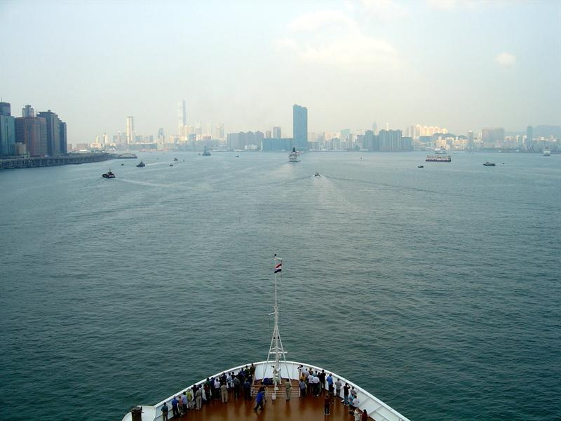"Entering Hong Kong port (China)----10-25-09. We had one extra day to stay in HONG KONG due to cancellation of our call to KEELUNG,Taiwan because of the expected arrival of typhoon.""Luipt""."