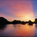 sunrise on halong bay.