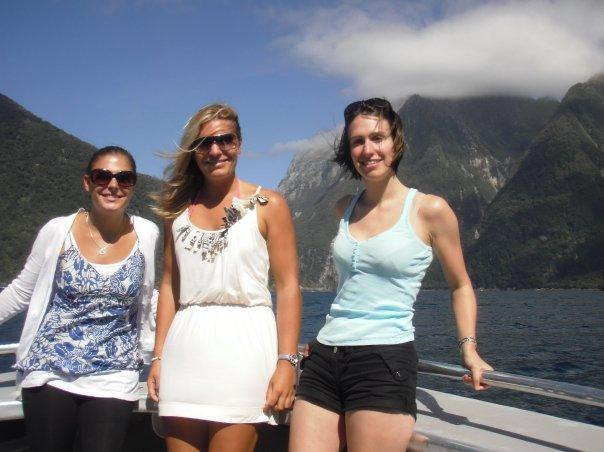 On boat at Milford Sound with Vicky and Claire