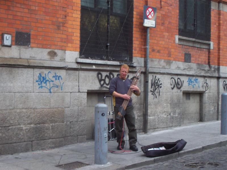 Busker in Temple Bar area.