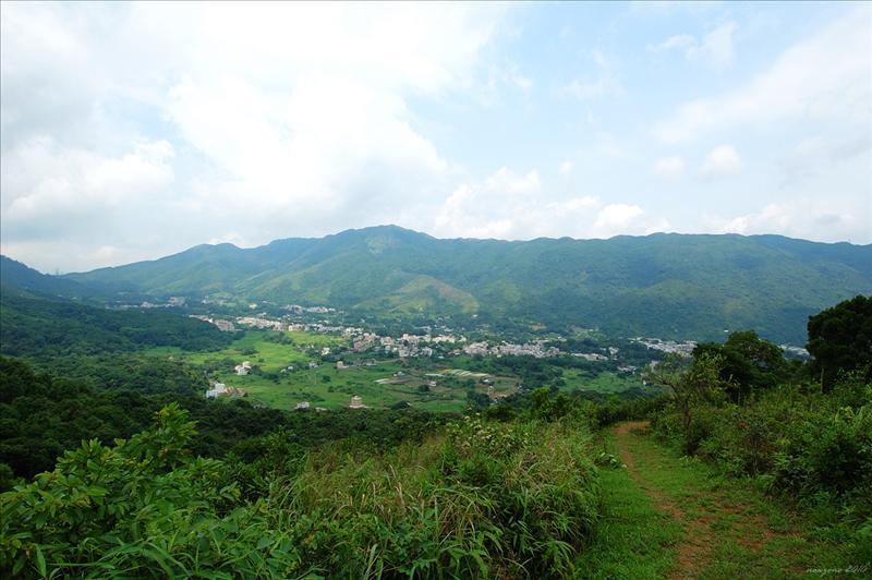 社山山頂下望林村谷的田野和村莊