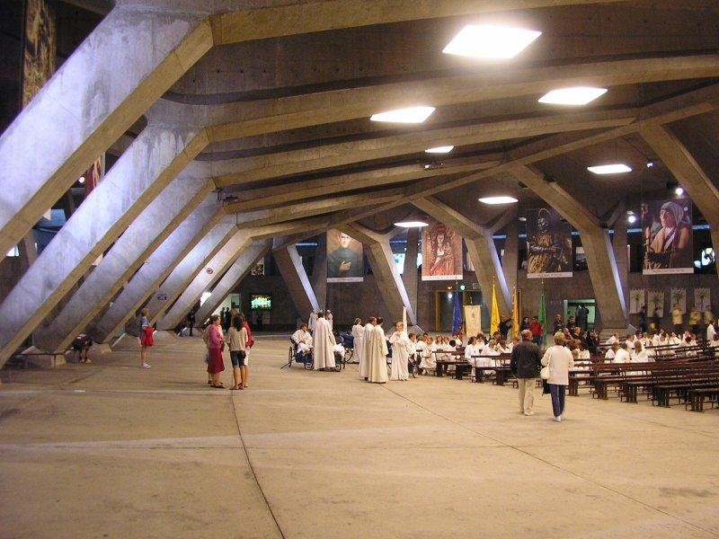 One end of the vast underground Basilica of St Pie X.