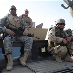 Derrick, me and Esteves under the cross swords in Baghdad