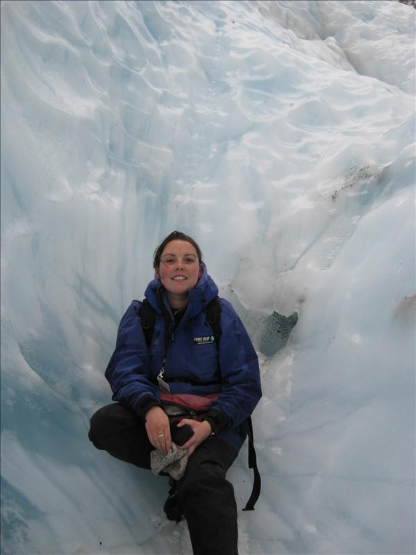 Mel surrounded in a wall of ice