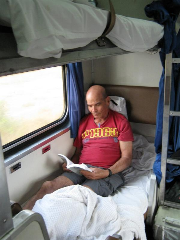on the sleeping train from Bangkok to Nong  Khai on the Laos border