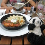 AMAZING!!! traditional Hungry food.  Paprika chicken and Goulash stew. Pandito is even smilling!
