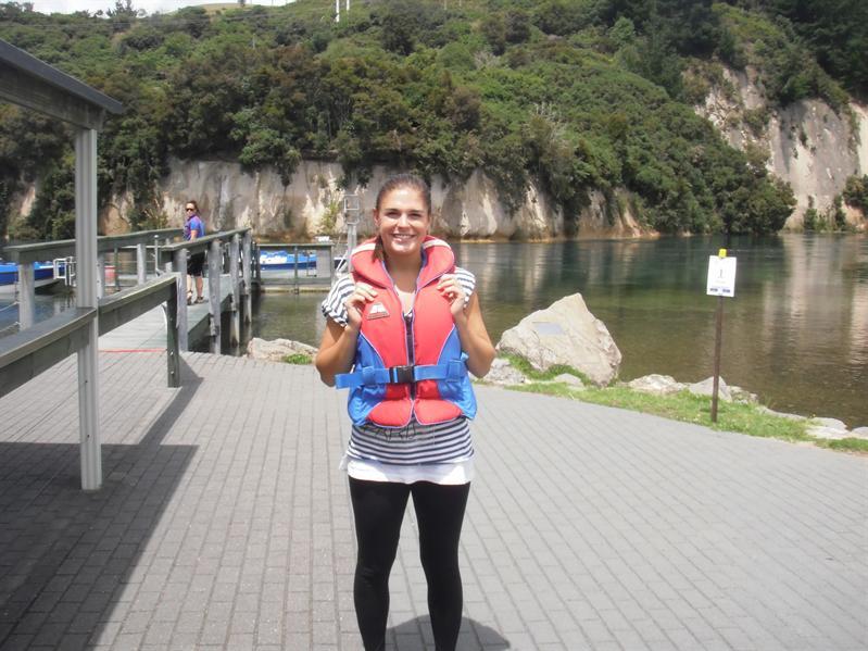 Vicky at jet boating