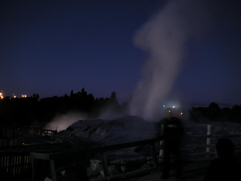 Night time picture of the geysers