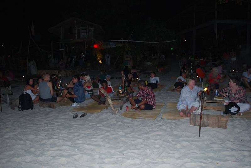 One of many beach bars, at night (with poor flash!) :-)