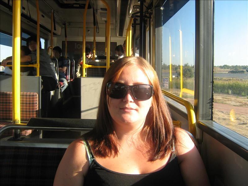 Me on bus again to Harbor Town