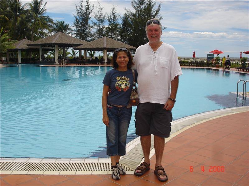 Kevin and I at the poolside of Miri Marriott Hotel