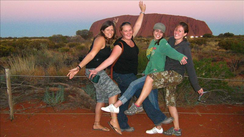 Me, Jennet, Ads and Sam at Uluru at Sunset