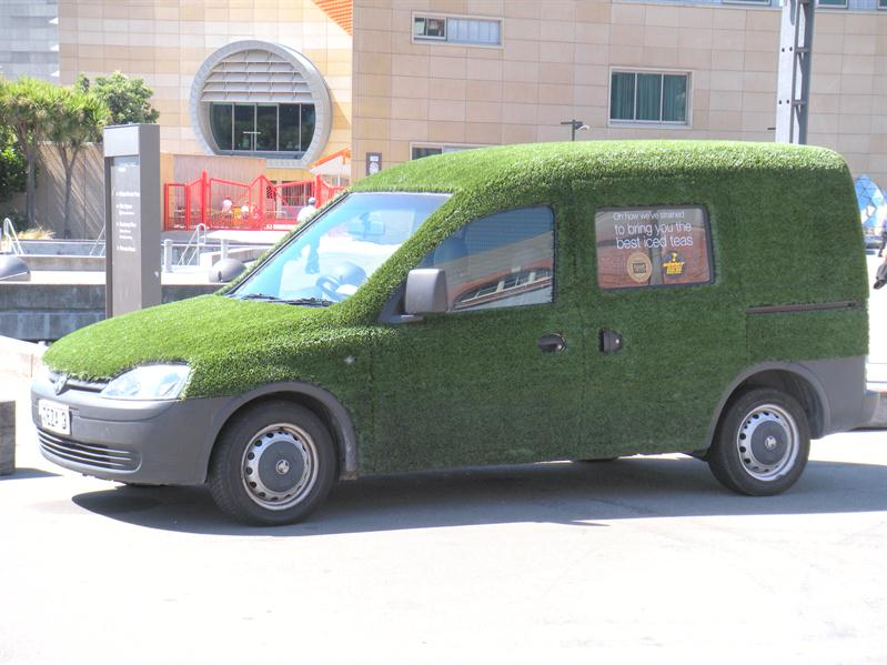 A turfed car at the wharf in Wellington