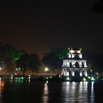 turtle tower at Hoan Kiem lake at night