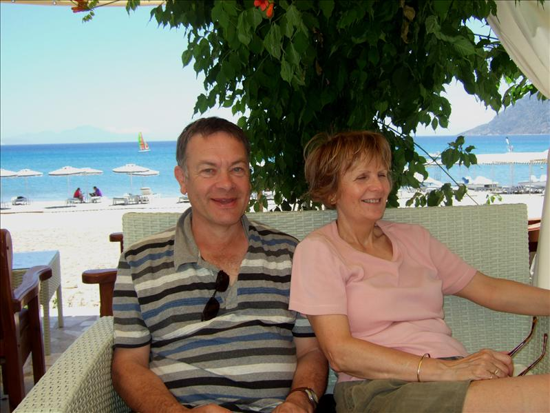 Graham and Linda at the Sacallis Hotel, Kefalos Bay
