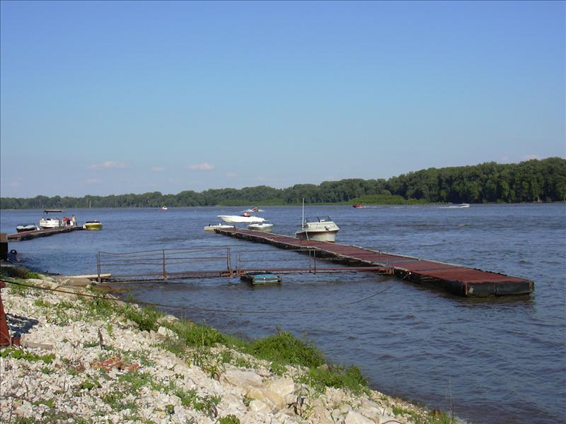 Kinder's riverfront view and dock