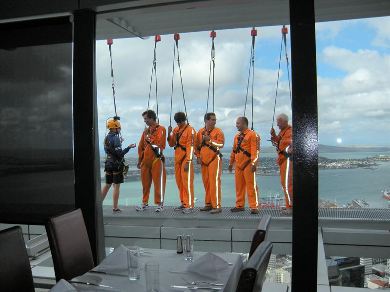 People walking round the perimeter of the sky tower when we went up