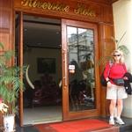 Yvonne outside Riverside Hotel