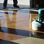 Concrete dyes can be used both inside and out. Smoother finished floors like basements, laundry rooms, and garages will show more depth and mottling. Exterior concrete with light broom finish with show rich color and depth with the use of exterior dyes.http://www.bigreddecorativeconcrete.com