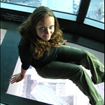 Jenn on the psycho glass floor in Sky Tower (200 m above ground)